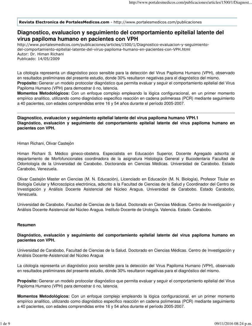 papiloma virus diagnostico laboratorio